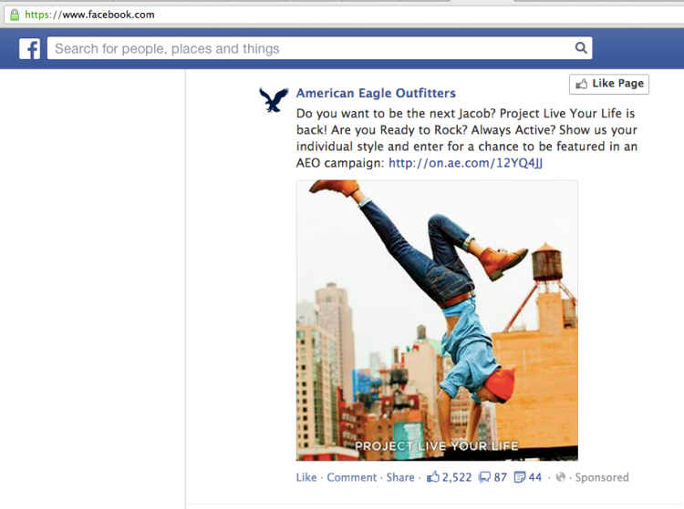 native advertising on Facebook